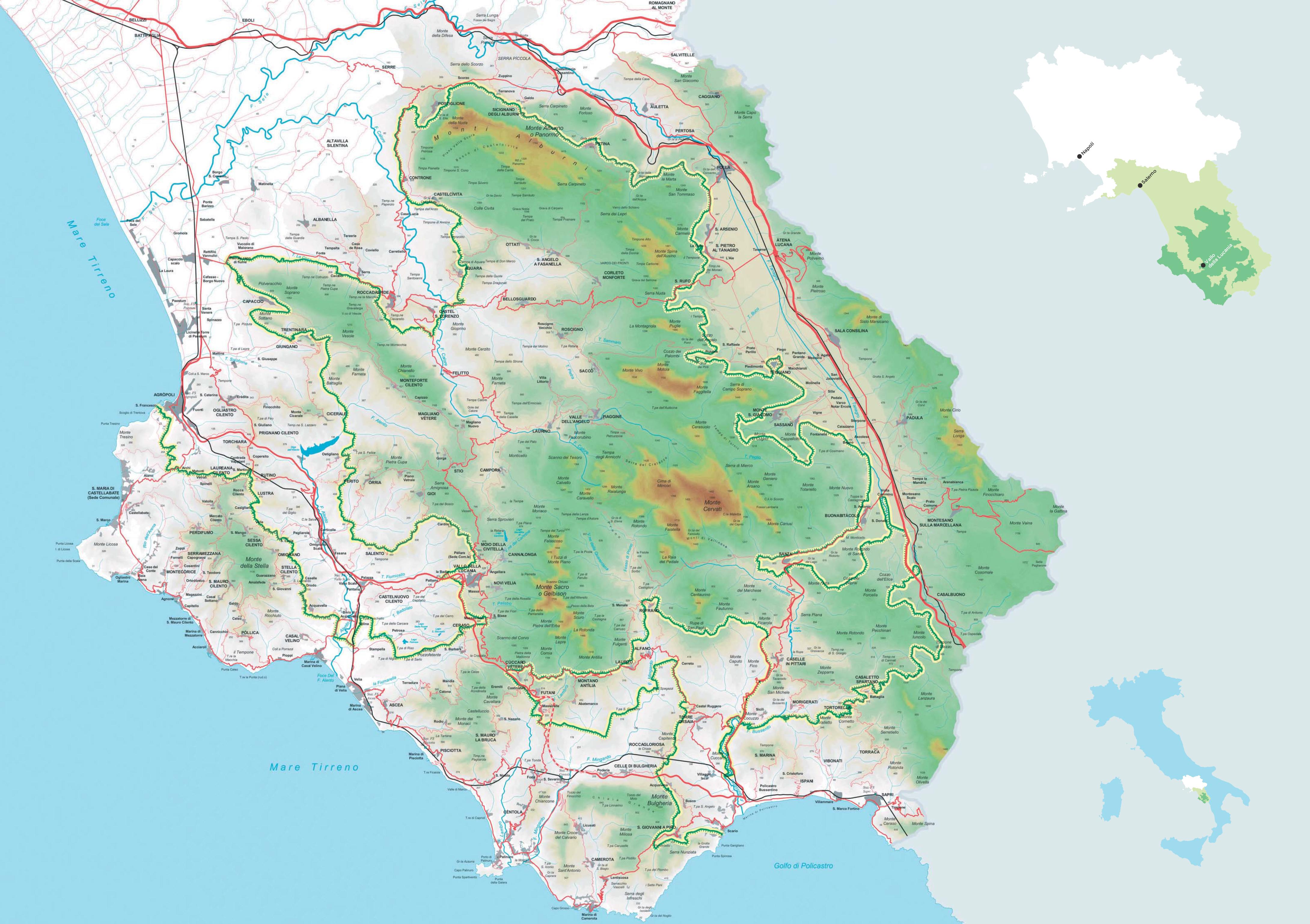 Cartina Geografica Politica Campania.Cilento On The Road Mappa Del Territorio